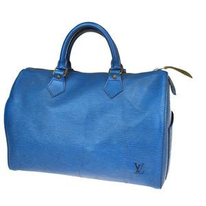 LOUIS VUITTON Speedy 30 Hand Bag Epi Leather Blue